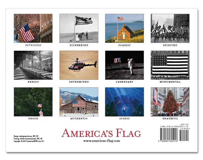 Americas Flag 2018 Wall Calendar back of calendar