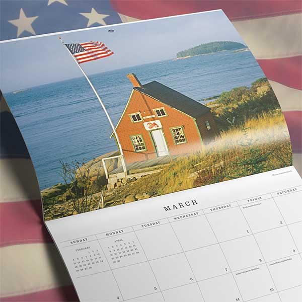 A U.S. Flag themed calendar